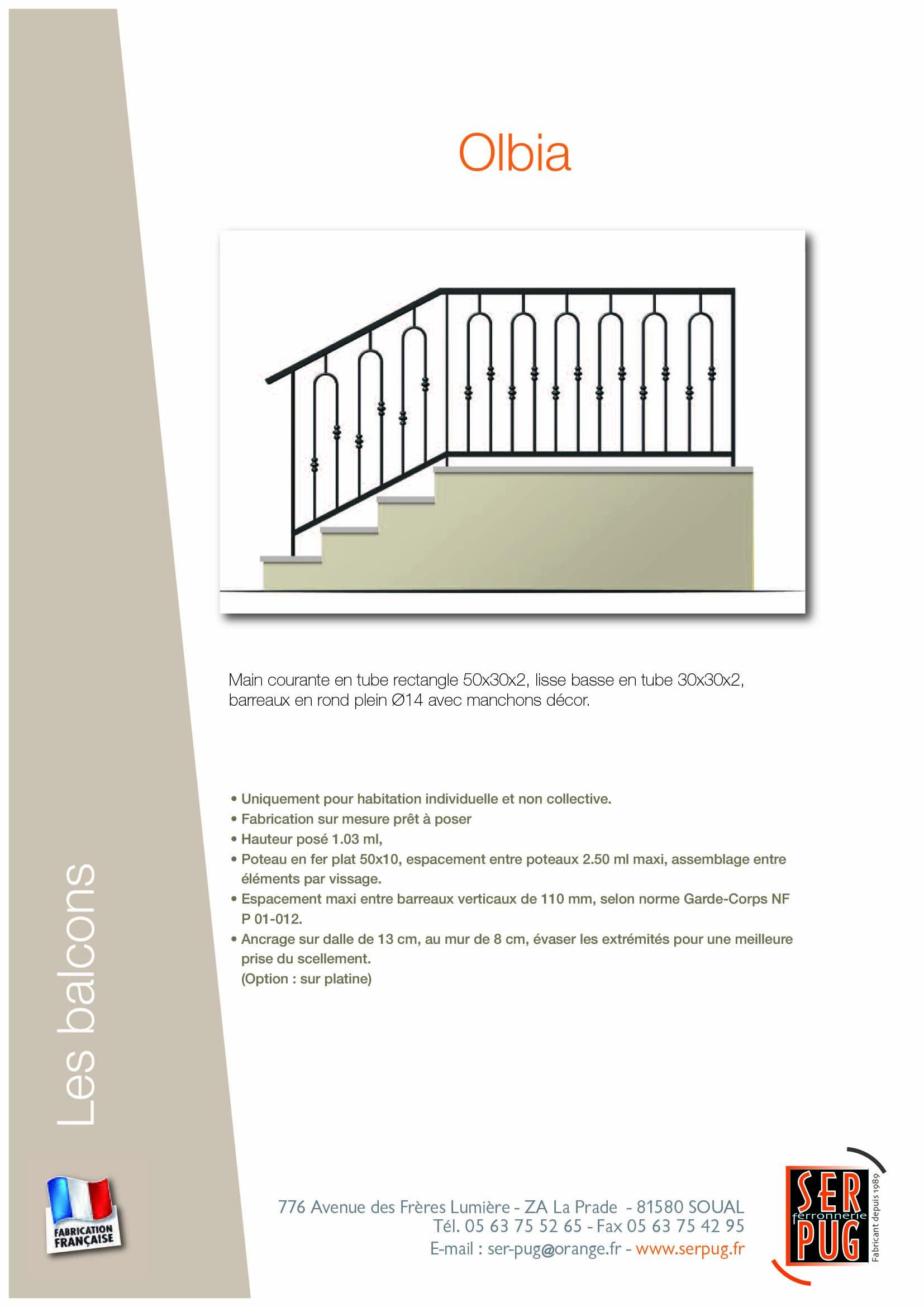 Espacement Entre Barreaux Garde Corps balcon olbia - ser-pug ferronnerie